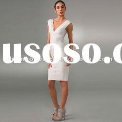 2012 White V Neck Lady Evening Dress,Fashion Gowns Party Dress DH074
