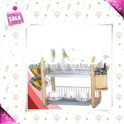 2-tier Stainless Dish Rack with Wood Frame