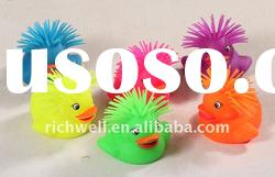 5 inch TPR duck animal puffer ball beach toy TPR toy fluffy ball flashing ball