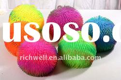 9inch bushy hair 5 rings color puffer ball(spary color) flashing ball fluffy ball plastic toy