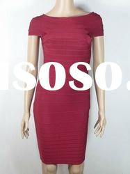 Dark Red Round Neck Short Sleeves Bandage Dress H055