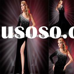Fantastic One-shoulder Sheath Crystal Beaded Long Sleeve Evening Dress