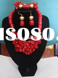 Fashion Jewelry Set New Design Coral Jewelry Set drum design coral necklace and earring bracelet set