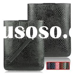 Genuine Leather Pouch Case for iPad & iPad 2,Pull Up Tab Croco Skin