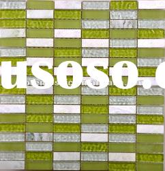 Glass mix marble mosaic tile for wall decorative PT-GWY1