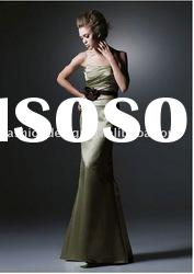 HLE00122 2011 Ladylike bodice with draped strapless sash tie belt floor length satin Evening dress