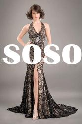 HLE00150 Allure blace beading lace with swarovski crystal halter trumpet with split Evening dress