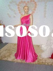 HLE00218 2011 Elegant bright pink one shoulder with swarovski crystals belt jersy Evening dress