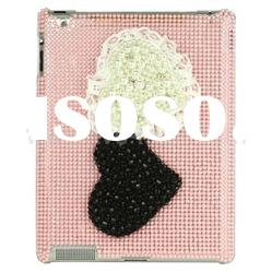 Hearts Rhinestone Bling Crystal Case for iPad 2 - Pink