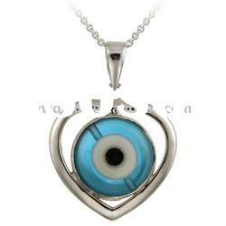 Lampwork Glass Evil Eye And Heart Silver Plated Alloy Pendant Necklace 119178