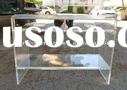 Lucite Console Table with Mirror Drawers