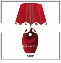 Modern Ceramic Desk Lamp T5001 With Oval Red Shade
