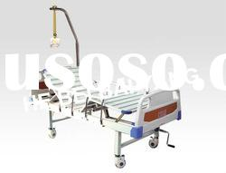 Movable Double-Function Manual Hospital Bed With ABS Bed head