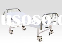 Movable Single Function Manual Hospital Bed with Stainless steel Bed head