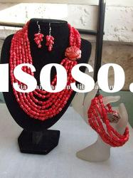 New Design Coral Jewelry Set small drum bead pink coral necklace and earring bracelet set