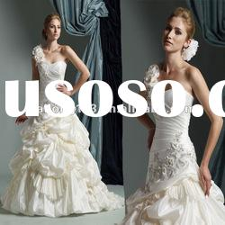 One-shoulder Flower Appliued Beaded Ball Gown Wedding Dress 2012