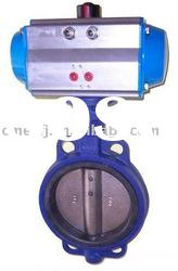 Pneumatic actuator operated Wafer butterfly Valve