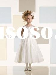 VF063 Beautiful newest style sleeveless organza flower girl dress
