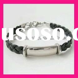 fashion elegant stainless steel id plate black leather bracelet jewelry