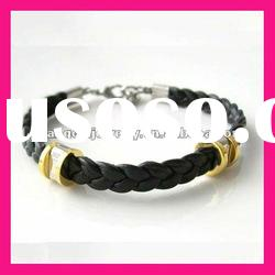 fashion gold charming beads stainless steel bangle with black leather gold bracelet designs women