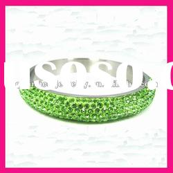 fashion stainless steel green crystal bangles wholesale high end costume jewelry