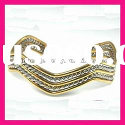 fashion stainless steel plated gold open wedding bangle for girls