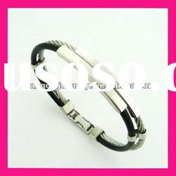 fashion stainless steel wire bracelet black leather bangle jewelry