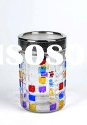 hand painted round decorative glass jars