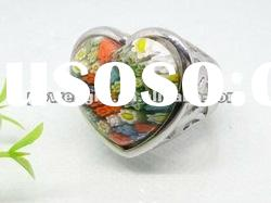 high quality stainless steel Ring with Murano Glass