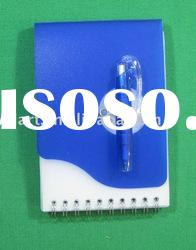 plastic note book with pen / promotion gift / memo book