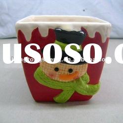 red ceramic christmas flower pot with snowman design