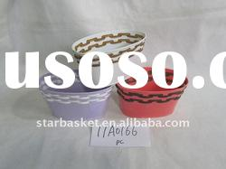 zinc flower pots with plastic rattan decoration 11A0166