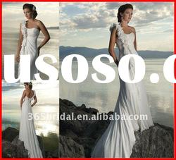 Grecian One-Shoulder Chiffon Wedding Dress