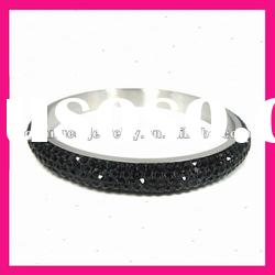 fashion stainless steel indian black crystal rhinestone bangles bracelet high end fashion jewelry