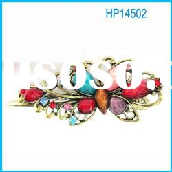 2012 ladies metal alligator hair clips with colored crystal