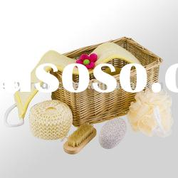 Bath set 5 pcs packed in willow basket