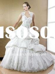 Custom-made Floor-Length Sleeveless Ruffle Ball-Gown Lace Embroidery Wedding Dress