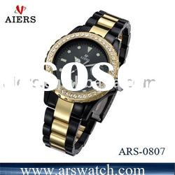 High quality black and gold wristwatch for men