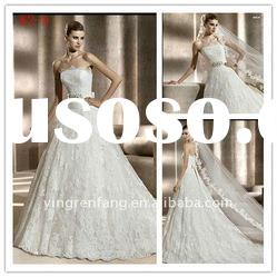 No risks A-line satin lace applique beaded strapless wedding dress of pregnant women W2-8