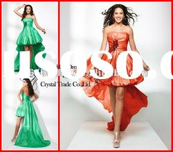 PYN2230 2012 Brilliant A Line Strapless Satin front short and long back prom dresses
