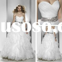 WD5680 Sweetheart Court Train Tulle Wedding Dress With Open Back
