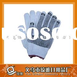 natural/bleached white cotton gloves pvc dot