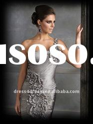 one shoulder dress pattern women fashion without dress with ruffled and beaded 2012