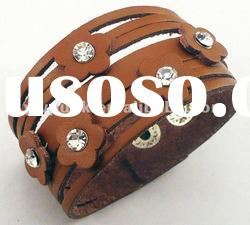 wholesale brown flower leather charm bracelets teen leather bracelet