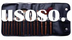 15 pcs branded professional makeup sets with pu leather case,cosmetic brush