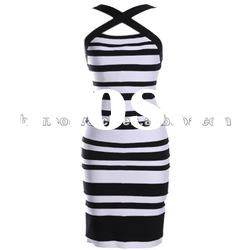 2012 Black With White Strap Cross on Neck Fashion Lady Party Evening Dress DH100