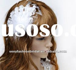 2012 red or ivory feather big pearl and bead wedding hair accessories