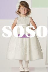 A-line Scoop Organza Ivory or Pink Flower Girl Dress