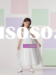 A-line Scoop Organza Lace White Flower Girl Dresses