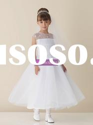 A-line Scoop Organza White Flower Girl Dresses